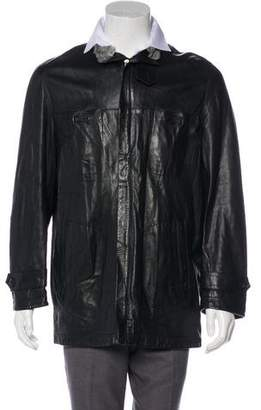Bruno Magli Persian Lamb-Trimmed Leather Jacket