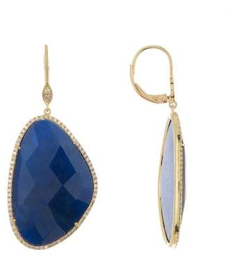 Meira T 14K Yellow Gold Diamond Halo Labradorite Drop Earrings
