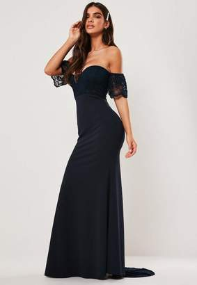 Missguided Tall Bridesmaid Navy Bardot Lace Detail Fishtail Maxi Dress, Navy