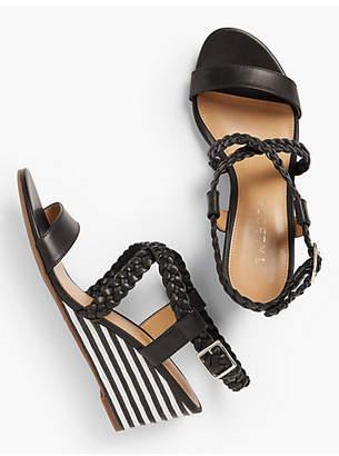 Talbots Royce Braided Leather Stripe-Cork-Wedge Sandals