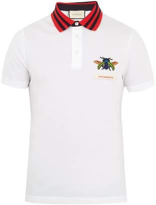 Gucci Beetle-appliqué cotton-piqué polo shirt
