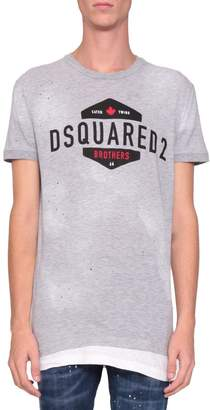 DSQUARED2 Cotton And Viscose Logo T-shirt
