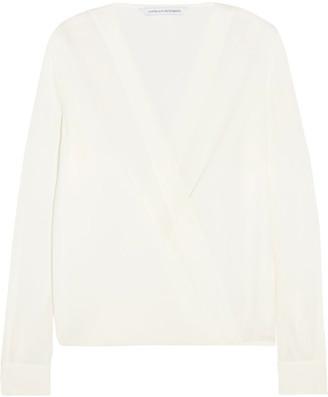 Diane von Furstenberg - Marci Wrap-effect Silk-crepe Blouse - Ivory $300 thestylecure.com