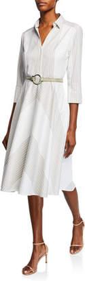 Elie Tahari Candence Striped V-Neck 3/4-Sleeve Belted Dress