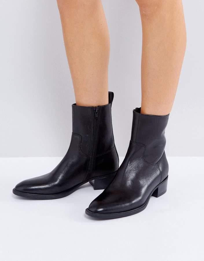 Vagabond Meja Black Leather High Cut Ankle Boots