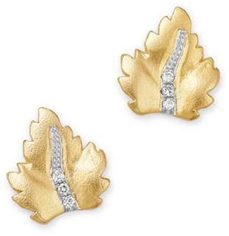 Meira T 14K Yellow Gold Diamond Leaf Stud Earrings