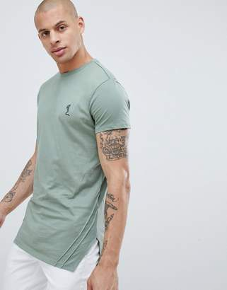 Religion muscle fit t-shirt with pleated hem in green