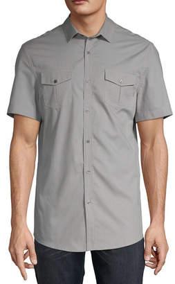4cf9b5530cf0 Claiborne Mens No Tuck Short Sleeve Slim Fit Textured Button-Front Shirt