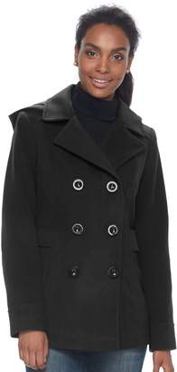 Details Women's Hooded Double Breasted Faux-Wool Peacoat