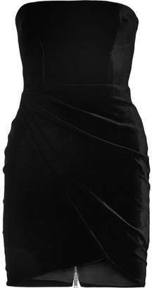 Alex Perry - Strapless Velvet Mini Dress - Black