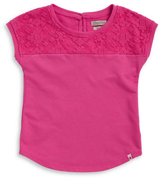 Lucky Brand Girls 7-16 Girls Cap-Sleeve Crochet Top $32 thestylecure.com