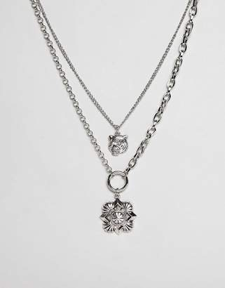 Asos DESIGN multirow necklace with oversized antique vintage style charm