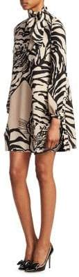 Valentino Tiger-Print Silk Tie-Neck Mini Tunic Dress