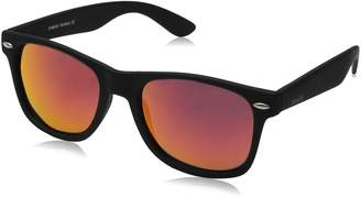 Zerouv ZV-8025-11 Retro Matte Black Horned Rim Flash Colored Lens Sunglasses