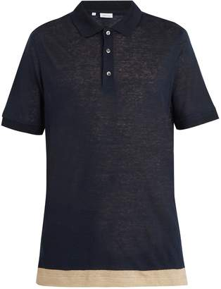 Brioni Contrast-panel linen polo shirt