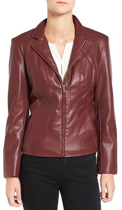 Women's Cole Haan Signature Faux Leather Notched Wing Collar Jacket $200 thestylecure.com