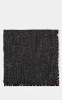 Eleventy Men's Cross-Stitched Denim Pocket Square - Blue