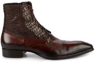 Jo Ghost Croc-Embossed Leather Lace-Up Boots