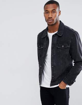 Bershka Denim Jacket In Black