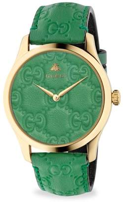 149dae8588d Gucci G-Timeless Gold PVD Case 38MM Pastel Green Leather Strap Watch