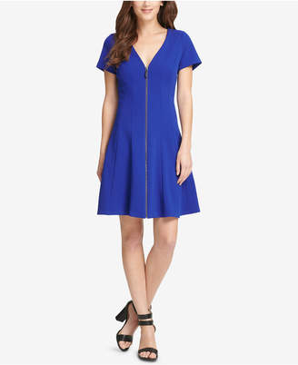 DKNY Front-Zip Fit & Flare Dress