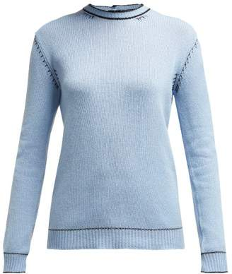 Marni Buttoned Back Cashmere Sweater - Womens - Light Blue