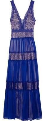 Catherine Deane Jana Paneled Chantilly Lace And Silk-Chiffon Gown