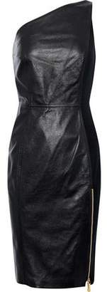 Versace One-Shoulder Paneled Leather Mini Dress