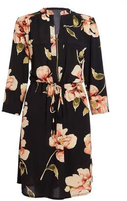 Quiz Black and Rust Floral Print Tunic Dress