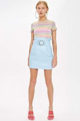 Topshop High Waist Leather Mini Skirt