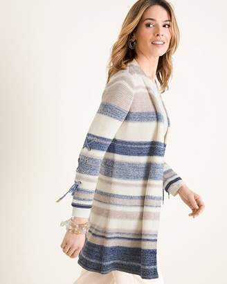 Chico's Chicos Striped Lace-Up Sleeve Cardigan