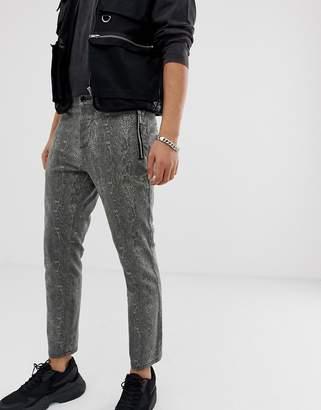 Asos Design DESIGN skinny cropped pants in snakeskin with zip pockets