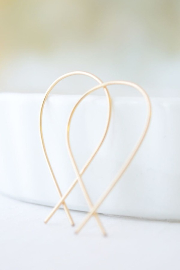Olive Yew! Gold Inverted Hoops