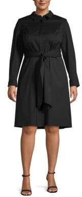Lafayette 148 New York Plus Long-Sleeve Shirtdress