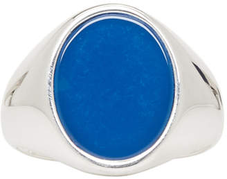 Maison Margiela Silver and Blue Signet Ring