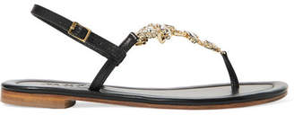 Musa Crystal-embellished Leather Sandals - Black