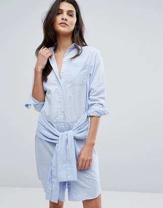 Warehouse Tie Waist Mixed Fabric Shirt Dress $70 thestylecure.com