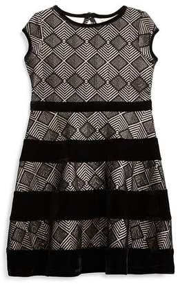 Us Angels Girls' Geometric Metallic Dress with Velvet Stripes - Little Kid