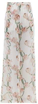 Adriana Degreas Aglio Print Silk Crepe De Chine Wide Leg Trousers - Womens - White Print