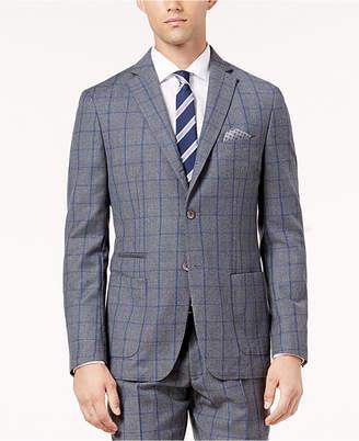 Tallia Men's Slim-Fit Gray and Blue Windowpane Wool Jacket