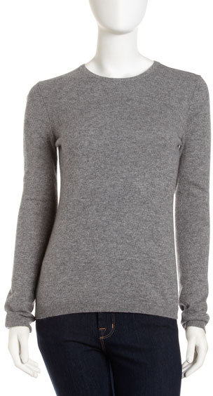 NEIMAN MARCUS Long-Sleeve Cashmere Crewneck Sweater, Gray Flannel