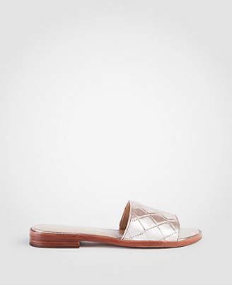 Ann Taylor Lyra Metallic Leather Slide Sandals