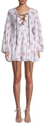 Caroline Constas Floral Lace-Up A-Line Dress