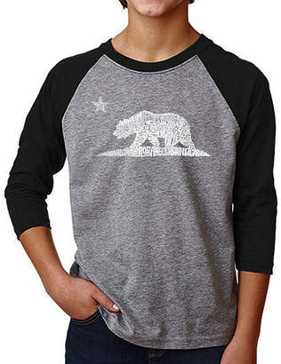 LOS ANGELES POP ART Los Angeles Pop Art Boy's Raglan Baseball Word Art T-shirt - California Bear