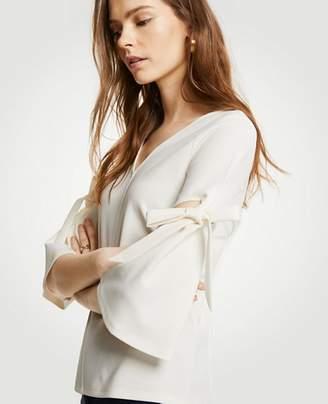Ann Taylor Petite Bow Sleeve Top