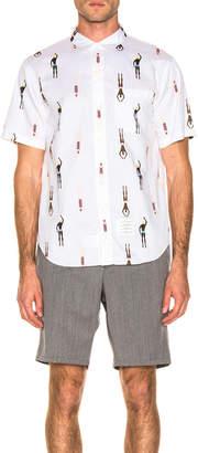 Thom Browne Swimmer Print Shirt in White   FWRD