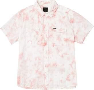 RVCA Men's Destroy Short Sleeve Woven Button Down Shirt