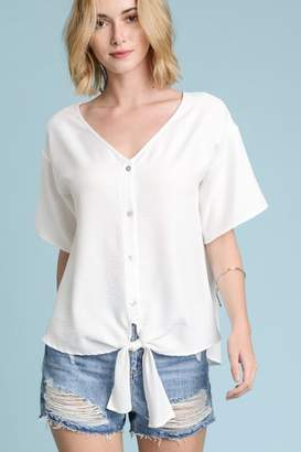 Les Amis White Button-Up-Tie Blouse