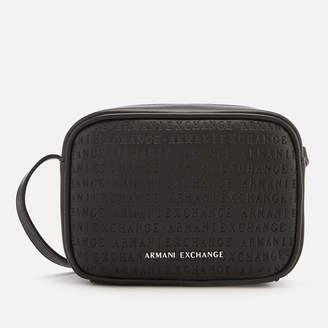 Armani Exchange Women s All Over Logo Embossed Cross Body Bag - Black 63516be089