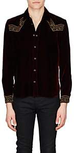 Saint Laurent Men's Embroidered Velvet Western Shirt - Md. Red